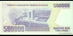 Turquie - p212b - 500.000Türk Lirası - L. 1970 (1984 - 2002) - Türkiye Cumhuriyet Merkez Bankası