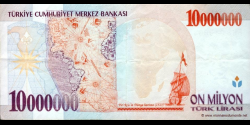 Turquie - p214a - 10.000.000Türk Lirası - L. 1970 / 1999 - Türkiye Cumhuriyet Merkez Bankası