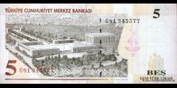 Turquie - p217 - 5Yeni Türk Lirası - L. 1970 / 2005 - Türkiye Cumhuriyet Merkez Bankası