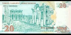 Turquie - p219 - 20Yeni Türk Lirası - L. 1970 / 2005 - Türkiye Cumhuriyet Merkez Bankası