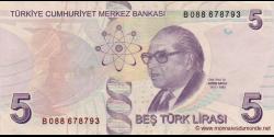 Turquie - p222A - 5Türk Lirası - L. 1970 / 2009 (2013) - Türkiye Cumhuriyet Merkez Bankası