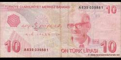 Turquie - p223a - 10Türk Lirası - L. 1970 / 2009 - Türkiye Cumhuriyet Merkez Bankası