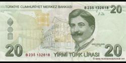 Turquie - p224b - 20Türk Lirası - L. 1970 / 2009 - Türkiye Cumhuriyet Merkez Bankası