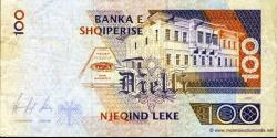 Albanie - p62 - 100Lekë - 1996 - Banka e Shqiperise