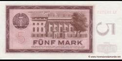 République - Démocratique - Allemagne - p22 - 5 Mark der DDR - 1964 - Deutsche Notenbank