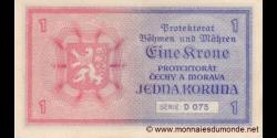 Böhmen und Mähren - p03 - 1 Krone / Koruna - ND (1940) - Protektorat Böhmen und Mähren / Protektorát Čechy a Morava