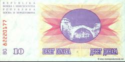 Bosnie Herzégovine - p010 - 10 Dinara - 01.07.1992 - Narodna Banka Bosne i Hercegovine