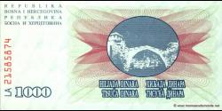 Bosnie Herzégovine - p015 - 1.000 Dinara - 01.07.1992 - Narodna Banka Bosne i Hercegovine