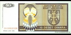 Bosnie Herzégovine - p133 - 10 Dinara - 1992 - Narodna Banka Srpske Republike Bosne i Hercegovine