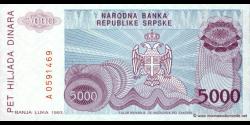Bosnie Herzégovine - p149 - 5.000 Dinara - 1993 - Narodna Banka Republike Srpske