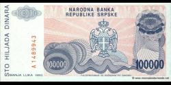 Bosnie Herzégovine - p151 - 100.000 Dinara - 1993 - Narodna Banka Republike Srpske
