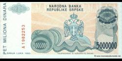 Bosnie Herzégovine - p153 - 5.000.000 Dinara - 1993 - Narodna Banka Republike Srpske