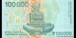 Croatie - p27 - 100.000 Hrvatskih Dinara - 30.05.1993 - Republika Hrvatska