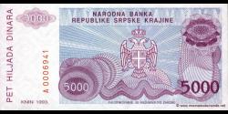 Croatie - pR20 - 5.000 Dinara - 1993 - Narodna Banka Republike Srpske Krajin