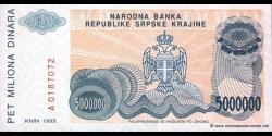 Croatie - pR24 - 5.000.000 Dinara - 1993 - Narodna Banka Republike Srpske Krajin
