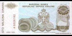 Croatie - pR25 - 100.000.000 Dinara - 1993 - Narodna Banka Republike Srpske Krajin