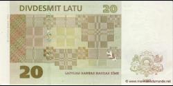 Lettonie - p55b - 20Lati - 2009 - Latvijas Bankas