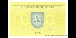 Lituanie - p31b - 0,50 Talonas - 1991 - Lietuvos Respublika