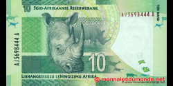 afrique du sud - p133a - 10 rand - ND (2012) - South African Reserve Bank / Suid - Afrikaanse Reserwebank / liBhangi lesiLulu l