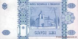 Moldavie - p09b - 5Lei - 1995 - Banca Naţională a Moldovei