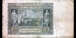 Pologne - p095 - 20 Złotych - 01.03.1940 - Bank Emisyjny w Polsce