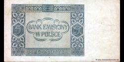 Pologne - p101 - 5Złotych - 01.08.1941 - Bank Emisyjny w Polsce