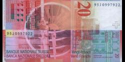 Suisse - p68b2 - 20 Franken / Francs / Franchi - 1995 - Schweizerische Nationalbank / Banque Nationale Suisse / Banca Nazional