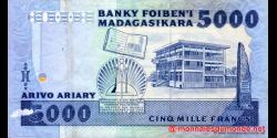 Madagascar - p73a - 5.000 francs = 1.000 ariary - ND (1988 - 1994) - Banky Foiben'i Madagasikara