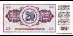 Yougoslavie - p085b - 20Dinara / Dinarjev / Dinari - 19.12.1974 - Narodna Banka Jugoslavije / Narodna Banka na Jugoslavija