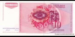 Yougoslavie - p103 - 10 Dinara / Dinarjev / Dinari - 01.09.1990 - Narodna Banka Jugoslavije / Narodna Banka na Jugoslavija