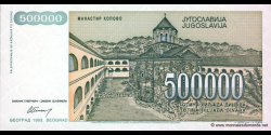 Yougoslavie - p131 - 500.000 Dinara - 1993 - Narodna Banka Jugoslavije