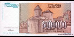 Yougoslavie - p132 - 5.000.000 Dinara - 1993 - Narodna Banka Jugoslavije