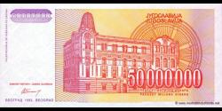 Yougoslavie - p133 - 50.000.000 Dinara - 1993 - Narodna Banka Jugoslavije
