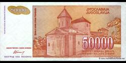 Yougoslavie - p142 - 50.000 Dinara - 1994 - Narodna Banka Jugoslavije