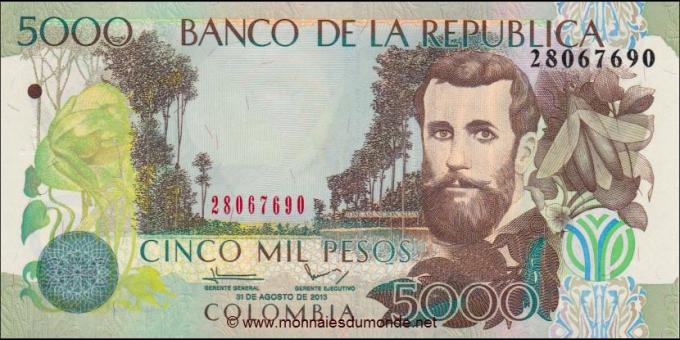 Billet de Colombie - Pick 452r - 5000 pesos - 2013
