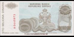 Bosnie Herzégovine - p154 - 100.000.000 Dinara - 1993 - Narodna Banka Republike Srpske