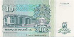 Zaire - p54 - 10 Nouveaux Zaïres - 24.06.1993 - Banque du Zaïre