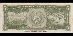 Cuba - p091c - 5Pesos - 1960 - Banco Nacional de Cuba