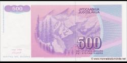 Yougoslavie - p113 - 500 Dinara - 1992 - Narodna Banka Jugoslavije