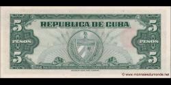 Cuba - p092 - 5Pesos - 1960 - Banco Nacional de Cuba