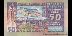 Madagascar - p62 - 50 francs = 10 ariary - ND (1974 - 1975) - Banky Foiben'ny Repoblika Malagasy / Banque Centrale de la Répub