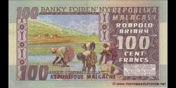 Madagascar - p63 - 100 francs = 20 ariary - ND (1974 - 1975) - Banky Foiben'ny Repoblika Malagasy / Banque Centrale de la Répu