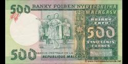 Madagascar - p64 - 500 francs = 100 ariary - ND (1974 - 1975) - Banky Foiben'ny Repoblika Malagasy / Banque Centrale de la Rép