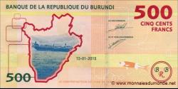 Burundi - p50 - 500 Francs - 15.01.2015 - Banque de la République du Burundi / Ibanki ya Republika y'Uburundi
