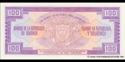 Burundi - p29c - 100 Francs - 01.07.1990 - Banque de la République du Burundi / Ibanki ya Republika y'Uburundi
