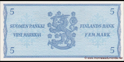 Finlande - p106Aa4 - 5Markka / Mark - 1963 - Suomen Pankki / Finlands Bank