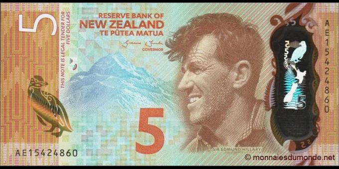 Recto du billet p191 - 5 Dollars - 2015 - Reserve Bank of New Zealand