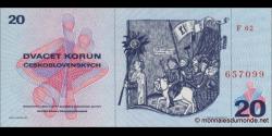 Tchécoslovaquie - p92 - 20 Korún Československých - 1970 - Státní Banka Československá