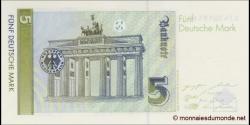 République - Fédérale - Allemagne - p37 - 5Deutsche Mark - 01.08.1991 - Deutsche Bundesbank