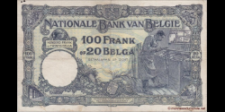 Belgique - p102 - 100 Francs ou 20 Belgas - 10.04.1930 - Banque Nationale de Belgique / Nationale Bank van België